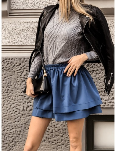 Tied hoodie with a beige checked pattern